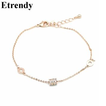 Simple Charm Rhinestone Bracelets For Women Fashion Jewelry Bijoux 2018 New Rose Gold Color Thin Bracelet Cute Gift All Match