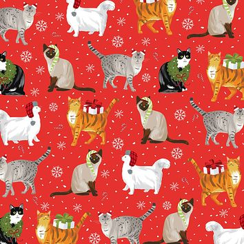 Bulk Ream Roll Christmas Gift Wrap Wrapping Paper, Fancy Cats