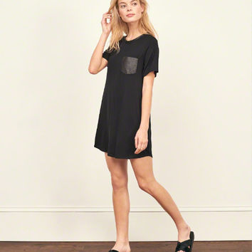 Faux Leather Pocket T-Shirt Dress