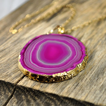 Sliced Hot Pink Agate Necklace, Geode Pendant, Druzy Necklace