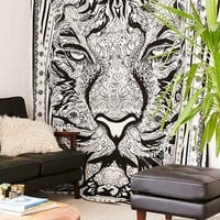 Magical Thinking Hand Sketched Tiger Tapestry