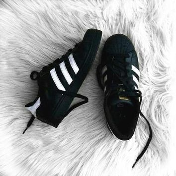 """Adidas""Superstar Fashion Shell-toe Flats Sneakers Sport Shoes Black"
