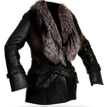 Ladies Washed 100% Soft Lamb Leather  F/F Collar Trench Jacket