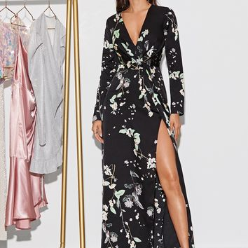 Floral Print Split Thigh Belted Maxi Dress