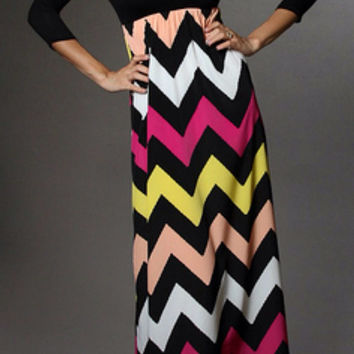 Autumn Leaves 3/4 Sleeve Chevron Maxi Dress