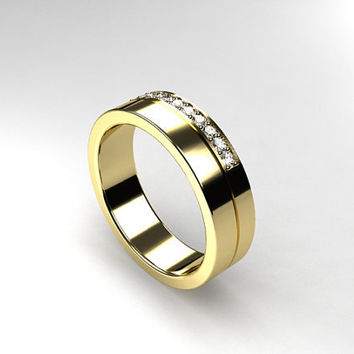 Diamond Wedding Band White Gold Yellow Mens Ring Unique