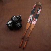 Print Denim/Leather Camera Shoulder Neck Strap for Nikon Canon Leica Olympus 7137 !Flower Theme