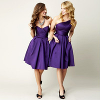 Vestido festa Short Knee-length Purple One-shoulder Bridesmaid Dresses Cheap Party Dress for Wedding Maid of Honor Gown