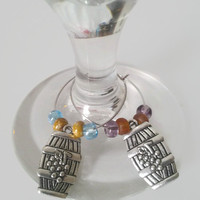 Wine Glass Charms, Wine Barrels, Silver Wine Charms, Purple Beads, Brown Beads, Blue Beads