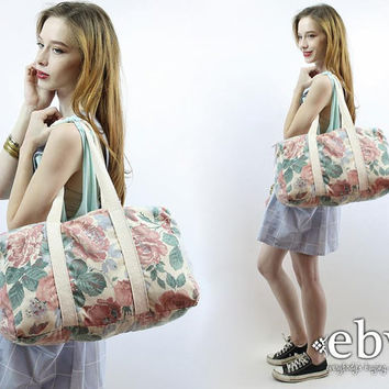 Vintage 90s Cream Floral Overnight Travel Bag 90s Floral Bag Floral Tote Floral Weekender 90s Weekender 90s Bag Sleepover Bag Weekend Bag