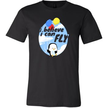 I Believe I can Fly Funny Penguin Balloon T-shirt