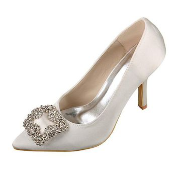 [45.89] Chic Satin Upper Closed Toe Stiletto Heels Bridal Shoes With Rhinestones - dressilyme.com