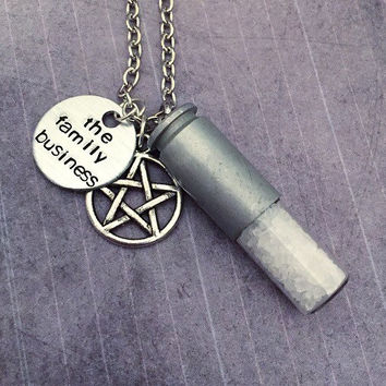 ORIGINAL DESIGN Ultimate Rock Salt Bullet Necklace - Sam and Dean Winchester Necklace - Supernatural Jewelry -Team Free Will Jewelry -Fandom