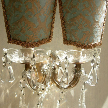 Pair of Antique Italian Maria Theresa Crystal 2 Arm Wall Sconces with Fortuny Clip On Lamp Shades - Handmade in Italy