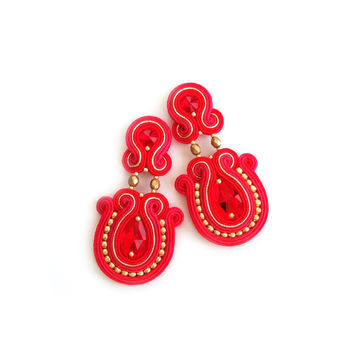 Red earrings native american style beaded soutache earring gold red Bollywood style boucles d'oreilles piendientes orecchini Girlfriend gift