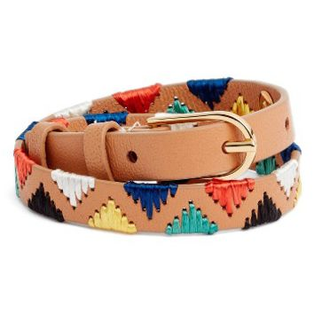 Tory Burch Embroidered Leather Bracelet | Nordstrom