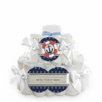 Baby Shower Square Diaper Cakes - 2 Tier - Ahoy - Nautical