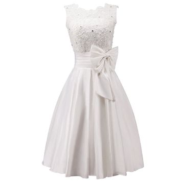 Miya Taffeta Beaded Lace and Bows Short Prom Dress