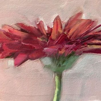 VOND4H ACEO Original Oil Painting, Flower, Red, Gerbera Daisy by Gary Bruton