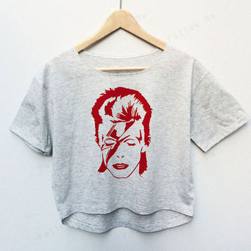 David Bowie Ziggy Stardust Punk Rock Tees Crop Top Fashion T-shirt Woman