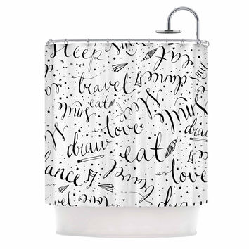"MaJoBV ""Life Must-dos / Black"" White Shower Curtain"