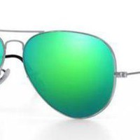 RAY BAN 3025 58 SILVER CUSTOMIZED REMIX SOLE SILVER GREEN MIRROR LENSES