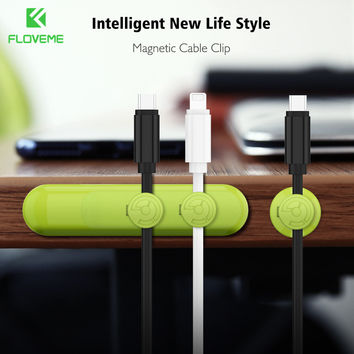 FLOVEME Magnetic Cable Clip Charger Receiver Wire Organizer Desk Tidy Wire Cord Lead Cable Holder Universal Phone Accessories