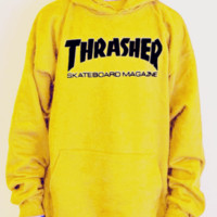 """""""Thrasher""""Men and women with the flame hooded couples sweater(black letters) Yellow"""