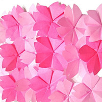 Origami Cherry Blossoms 20 count , Paper Sakura Flower for Japanese Wedding Decor , Scrapbook Embellishment