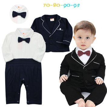 Trendy Baby Boy Newborn Rompers Clothes Kid's Infant Baby Tuxedo Suit Clothing Sets Gentleman Roupa Jumpsuits de bebe Long Clothes Top AT_94_13