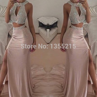 Two Pieces Elegant Halter Off the Shoulder Mermaid Prom Dresses 2016 Evening Party Gowns Custom Made