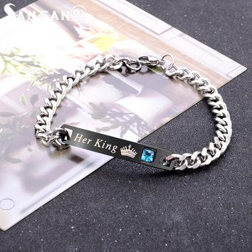 High Quality Silver Tone Alloy Couple Bracelet Carved Crown His Queen & Her King  For Lovers Wedding Party Gift