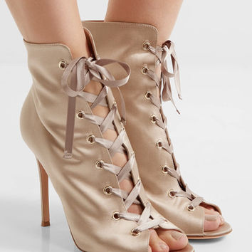 Gianvito Rossi - Lace-up satin boots