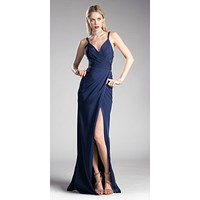 Navy Blue Pleated Long Formal Dress Spaghetti Strap with Slit