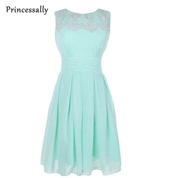 Pastel Mint Bridesmaid Dresses Sleeveless With Lace Knee Length vestidos de novia Mint Green Cheap Party Prom Dresses Under 50