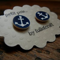 Petit Pois Earrings with Blue and White Anchor by Fullofcraft