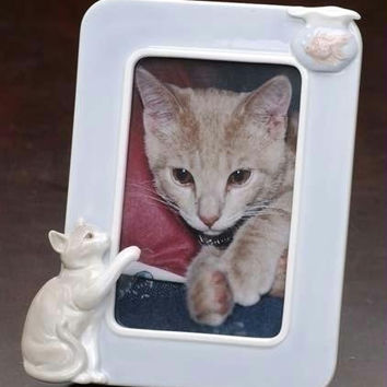 "Calico Cat 4 "" X6 ""  Photo Frame - Hand Painted"
