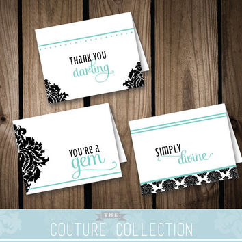 THANK YOU card bundle of 3 - Breakfast at Tiffany's Inspired Bridal Shower | Black and White Tiffany Blue Damask Printable DIY Digital File