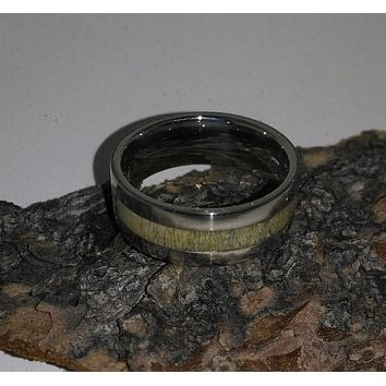 Caribou Antler Stainless Steel Bentwood Ring