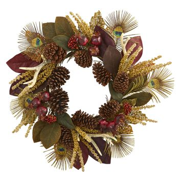 Christmas Wreath -27 Inch Magnolia Leaf Berry Antler and Peacock Feather Wreath