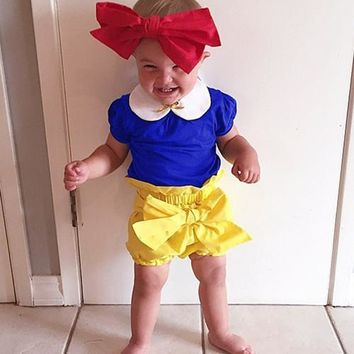 2017 Princess Kids Girls Clothes Set Summer Girl Costume Cartoon Snow White Children Clothing Set (T shirt + shorts +headband)