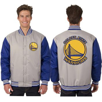Golden State Warriors Poly Twill Jacket - Grey/Royal Blue