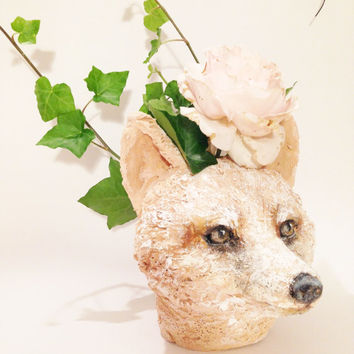 Head Planter Sculpture - fox - Pink terracotta painted Pot, Hand Carved Clay Fox