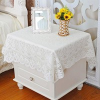 yazi Pastoral White Lace Tablecloth Embroidered Floral Tablecloth Square Table Cloth Table Cover Dining Kitchen Decor