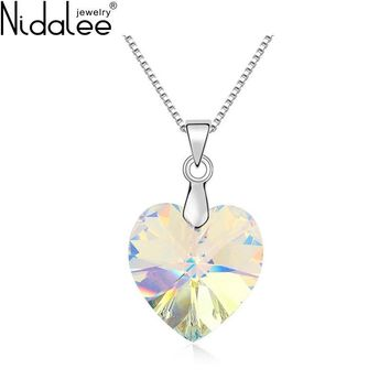 Nidalee Brand Necklaces For Women Colorful Heart Crystals From Swarovski Necklace & Pendants Body Chain Wedding Jewelry N823
