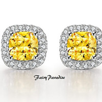 Total 4 Ct Cushion Cut lab made Yellow Diamond Canary Diamond earrings 925 Silver with gift box (best Xmas gift) - made to order