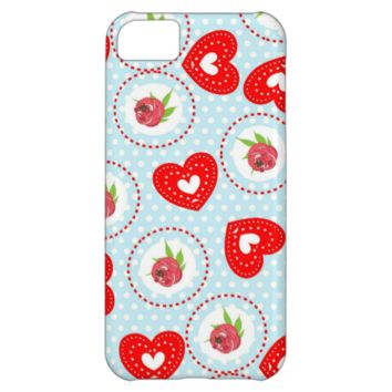 Shabby Chic Style Roses and Red Love Hearts Print iPhone 5C Cases