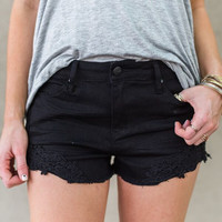 Lacey Denim Cut Off Shorts (Black)