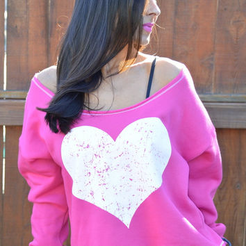 Big Huge Heart. Wide Shouldered Cropped Super Soft Sporty Sweatshirt. Sizes S-XL. Made in the USA. Bright Azalea Pink with Any Heart Color