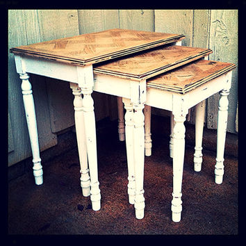 Nesting side table trio  set of matching accent tables shabby chic